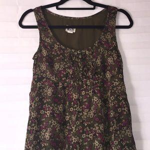 Olive, tan and magenta dress